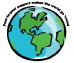 """Cartoon of Earth with words """"Peer to Peer Support Makes the World Go 'Round"""""""