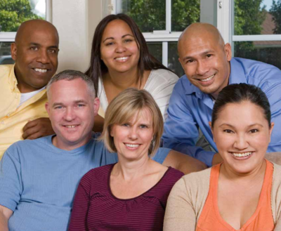 Diverse group of 6 smiling people